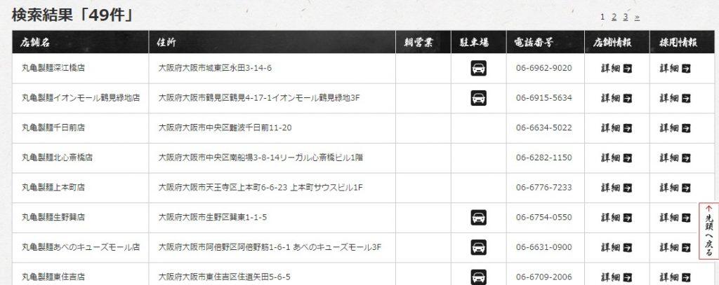 丸亀製麺 店舗検索手順