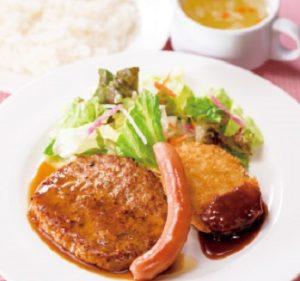 ガストのランチ「ハンバーグ醤油ソース&ソーセージ&コロッケ」