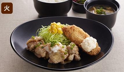 ジョイフルの日替わり昼膳火曜日「唐揚げ&魚フライ膳」2018年8月現在