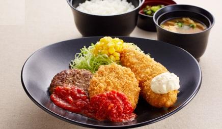 ジョイフル日替わり昼膳土曜日「ミニハンバーグ&ポテトコロッケ&白身魚フライ膳」2