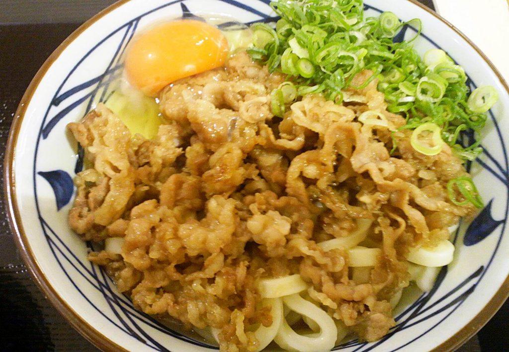 丸亀製麺 牛すき釜玉うどん実物