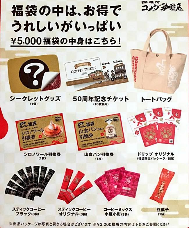 コメダの福袋2018(5000円)