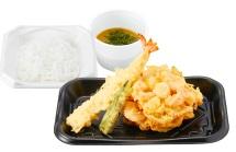 さん天持ち帰り「海老と小柱のかき揚げ天ぷら定食」690円
