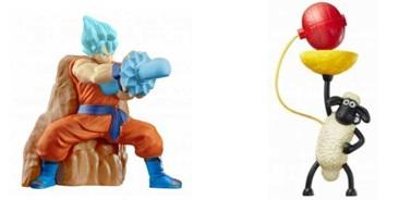 ハッピーセット、ドラゴンボール超とひつじのショーンのおもちゃ一例2017年5月