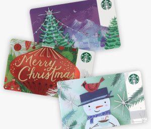 スタバ「スターバックス カード ツリー/メリークリスマス/スノーマン」2017年11月1日