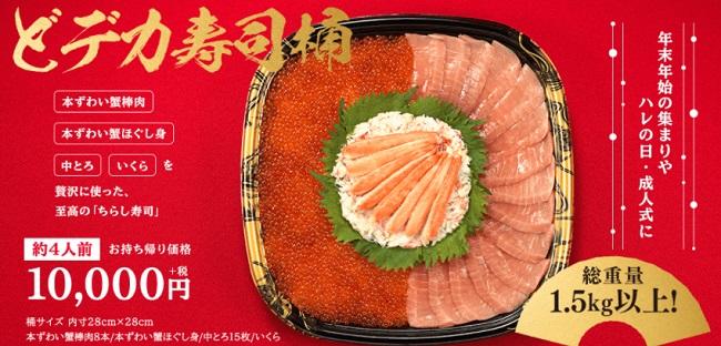 かっぱ寿司の正月「どデカ寿司桶」2020年2021年