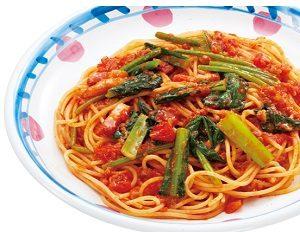 ジョリーパスタの日替わりランチ金曜日「ベーコンと青菜のトマトミートソース」