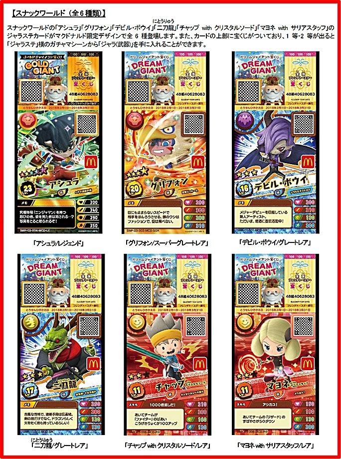 ハッピーセット「スナックワールド」6種類カード