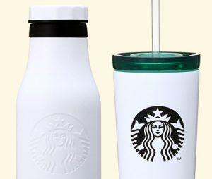 スタバ「ステンレスロゴボトルマットホワイト473ml 、ステンレスロゴコールドカップタンブラー ホワイト 355ml」