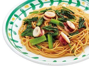 ジョリーパスタの日替わりランチ月曜日「イカと青菜の醤油ソース」
