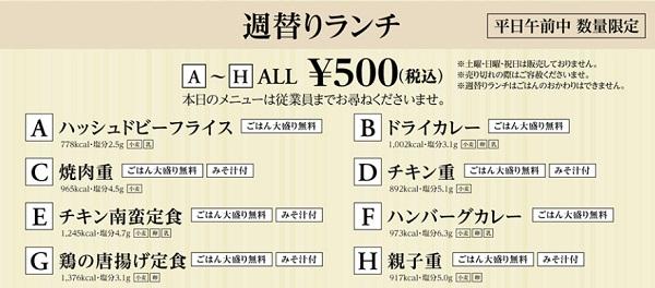 フォルクスの週替り500円ランチ種類