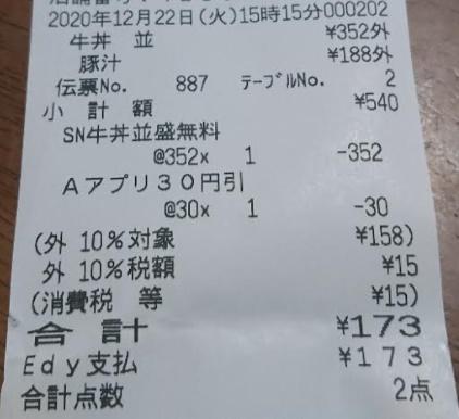 吉野家牛丼無料クーポンレシート