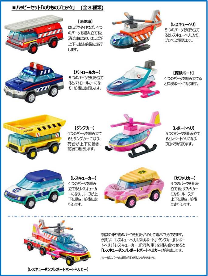 ハッピーセット「のりものブロック」2018年8月31日6種類おもちゃ