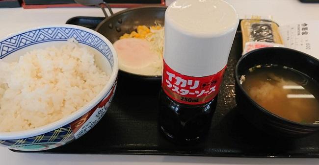 吉野家の朝定食「ハムエッグ定食」2018年12月17日に食べた