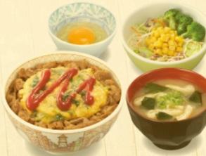 すき家「オム牛丼ランチセット」