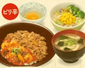 すき家「SUKIMIX・エビチリ牛丼ランチセット」